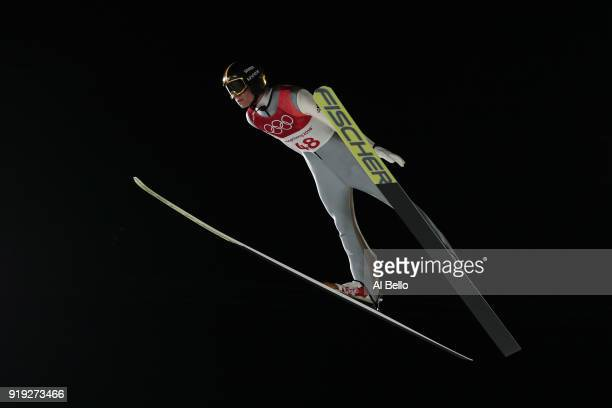 Andreas Wellinger of Germany makes a jump during the Ski Jumping Men's Large Hill on day eight of the PyeongChang 2018 Winter Olympic Games at...
