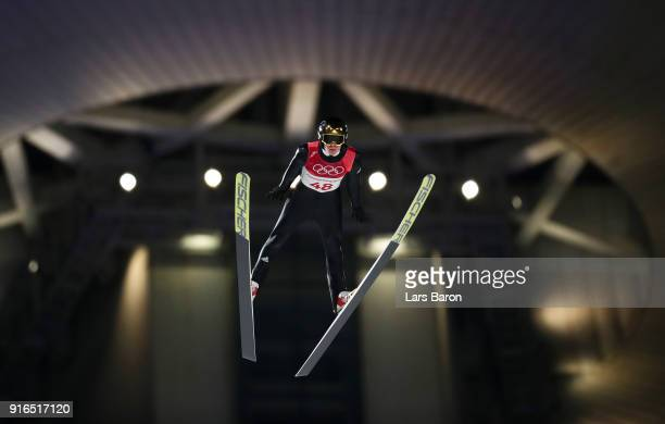 Andreas Wellinger of Germany makes a trial jump during the Ski Jumping Men's Normal Hill Individual Final on day one of the PyeongChang 2018 Winter...
