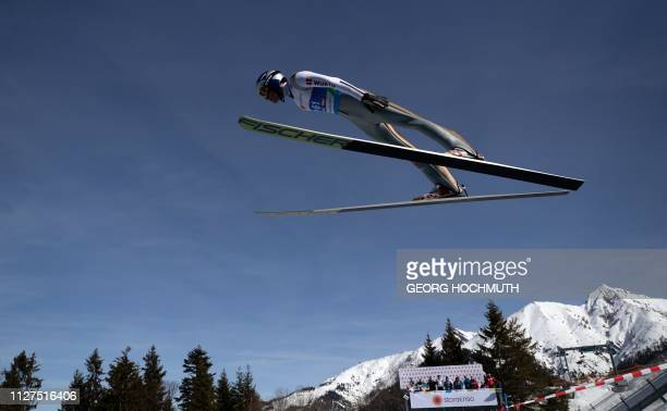 Andreas Wellinger of Germany performs in a practice jump during a training of the men's HS109 ski jumping event at the FIS Nordic World Ski...