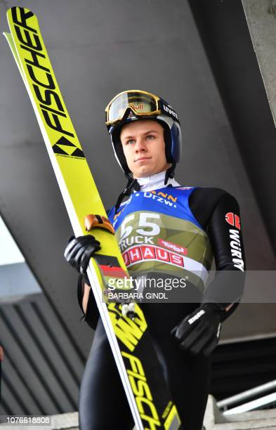 Andreas Wellinger of Germany prepares for his training jump at the third stage of the FourHills Ski Jumping tournament in Innsbruck Austria on...
