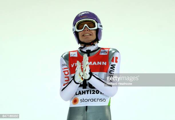 Andreas Wellinger of Germany reacts after his final jump during the Men's Ski Jumping HS130 at the FIS Nordic World Ski Championships on March 2 2017...