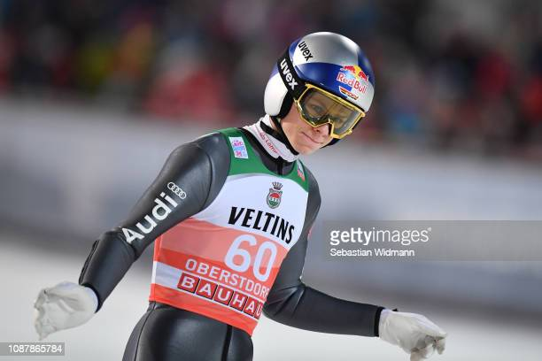 Andreas Wellinger of Germany reacts after his jump during the qualification round for the Four Hills Tournament on December 29 2018 in Oberstdorf...