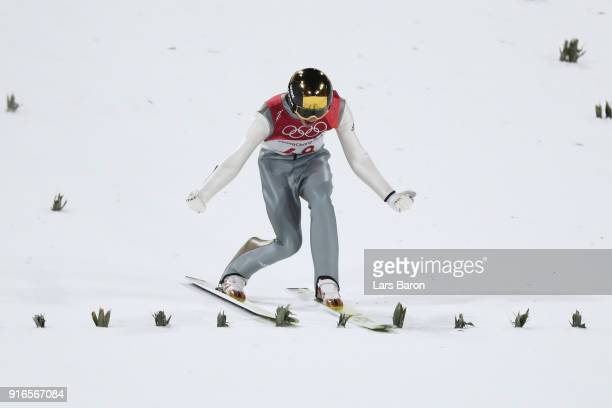 Andreas Wellinger of Germany reacts after landing a jump during the Ski Jumping Men's Normal Hill Individual Final on day one of the PyeongChang 2018...