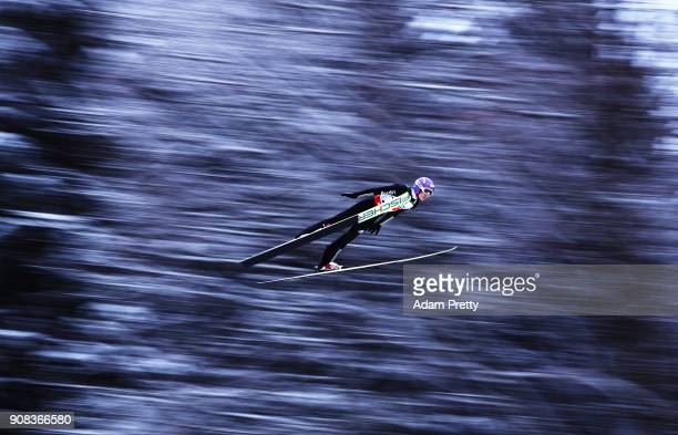 Andreas Wellinger of Germany soars through the air during his first competition jump of the Flying Hill Team competition of the Ski Flying World...