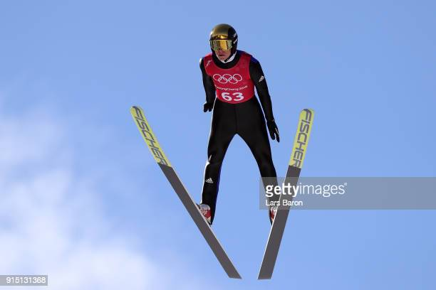 Andreas Wellinger of Germany trains for the Men's Normal Hill Ski Jumping ahead of the PyeongChang 2018 Winter Olympic Games at Alpensia Ski Jumping...