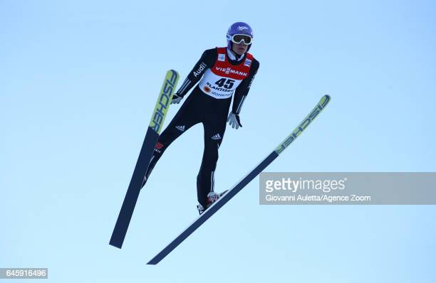 Andreas Wellinger of Germany wins the silver medal during the FIS Nordic World Ski Championships Men's Ski Jumping HS100 on February 25 2017 in Lahti...