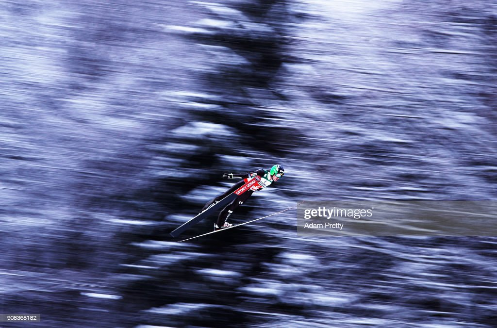 Andreas Wellinger of Slovenia soars through the air during his first competition jump of the Flying Hill Team competition of the Ski Flying World Championships on January 21, 2018 in Oberstdorf, Germany.