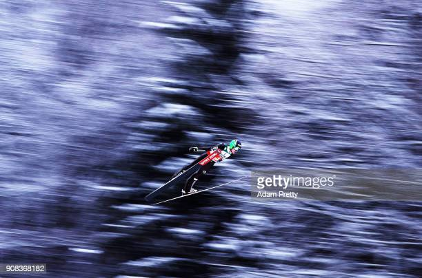 Andreas Wellinger of Slovenia soars through the air during his first competition jump of the Flying Hill Team competition of the Ski Flying World...