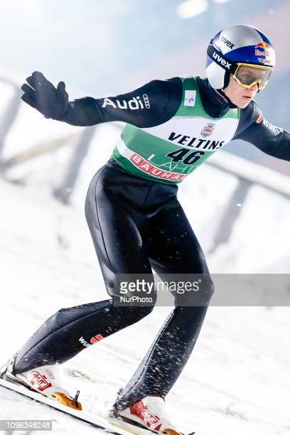 Andreas Wellinger participates in FIS Ski Jumping World Cup Large Hill Individual training at Lahti Ski Games in Lahti Finland on 8 February 2019