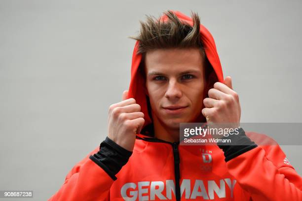 Andreas Wellinger poses for a photographer during the 2018 PyeongChang Olympic Games German Team kit handover at Postpalast on January 22 2018 in...