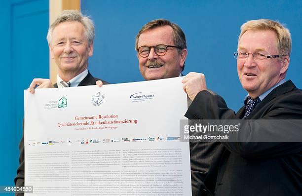 Andreas Westerfellhaus, president of german nursing care council , Georg Baum, head of German Hospital Federation , Frank Ulrich Montgomery,...