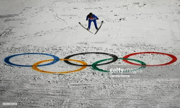 Andreas Widhoelzl of Austria competes in the Large Hill Individual Ski Jumping Final on Day 8 of the 2006 Turin Winter Olympic Games on February 18,...