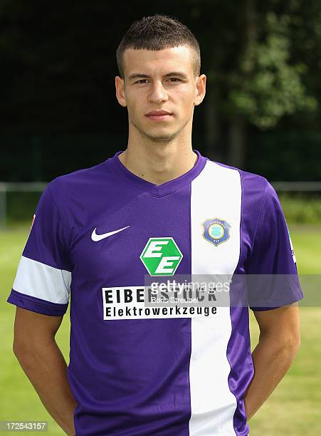 Andreas Wiegel of Aue poses during the Second Bundesliga team presentation of Erzgebirge Aue on June 2 2013 in Aue Germany