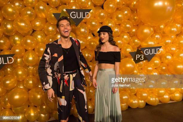 Andreas Wijk and Felice Jankell arrive at the P3 Guld Gala Swedish Radio's celebration of the best in Swedish Music on January 20 2018 at Partille...