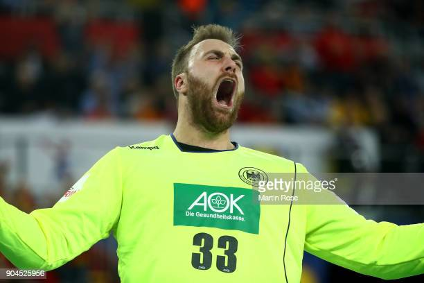 Andreas Wolff goalkeeper of Germany celebrates during the Men's Handball European Championship Group C match between Germany and Montenegro at Arena...