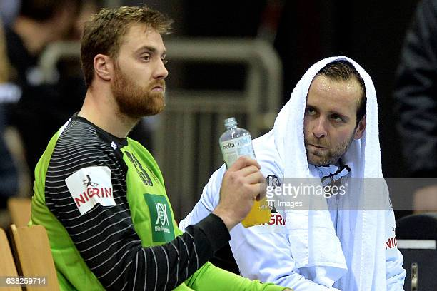 Andreas Wolff of Germany and Silvio Heinevetter of Germany looks on during the International Handball Friendly match Germany v Romania on January 3...