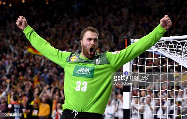 Andreas Wolff of Germany celebrates during the 26th IHF Men's World Championship group 1 match between Croatia and Germany at Lanxess Arena on...
