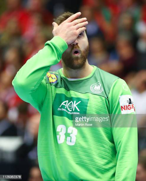 Andreas Wolff of Germany reacts during the 26th IHF Men's World Championship 3rd place match between Germany and France at Jyske Bank Boxen Arena on...