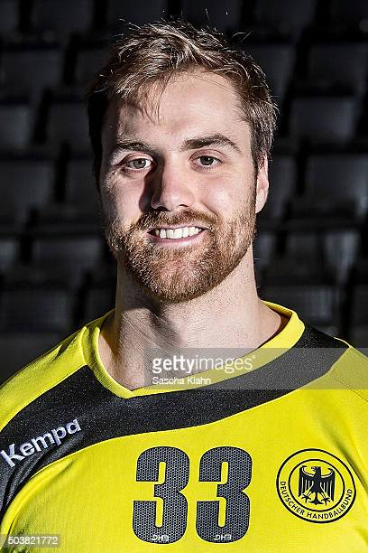 Andreas Wolff poses during the Germany Handball team presentation at Porsche Arena on January 4 2016 in Stuttgart Germany