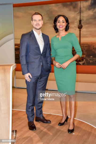 Andreas Wunn and Jana Pareigis during the ZDF Mittagsmagazin photo call on March 21, 2018 in Berlin, Germany.