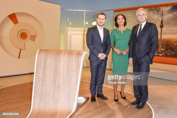 Andreas Wunn, Jana Pareigis and Peter Frey during the ZDF Mittagsmagazin photo call on March 21, 2018 in Berlin, Germany.