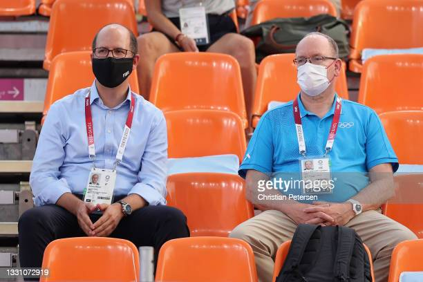 Andreas Zagklis, Secretary General of International Basketball Federation and Prince Albert II of Monaco look on during the 3x3 Basketball...