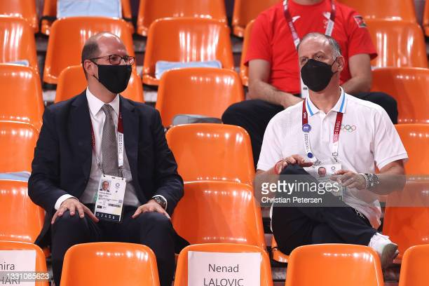 Andreas Zagklis, Secretary General of International Basketball Federation and HRM Prince Feisal bin Al-Hussein talk prior to the 3x3 Basketball...