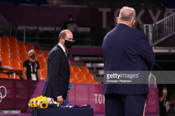 Andreas Zagklis, Secretary General of International Basketball Federation looks on during the medal ceremony for the 3x3 Basketball competition on...