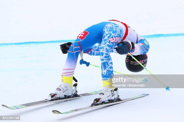 Andreas Zampa of Slovakia reacts after finishing his run competes in the Men's Giant Slalom during the FIS Alpine World Ski Championships on February...