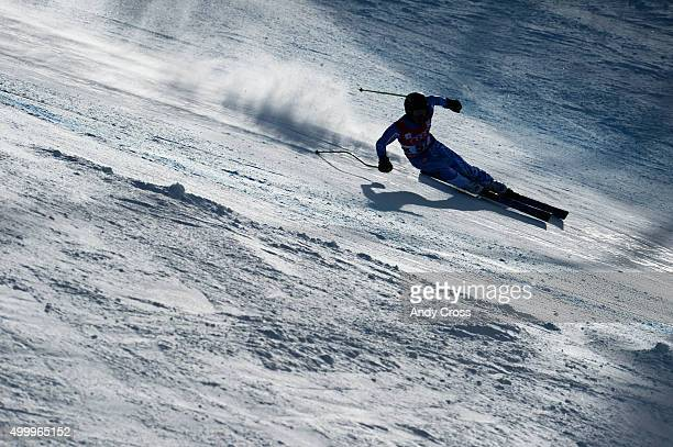 Andreas Zampa SVK heads down course in the Pete's Arena portion of the course during the 2015 Audi Birds of Prey Men's World Cup downhill at Beaver...