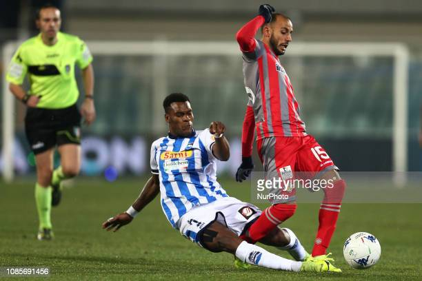 Andreaw Gravillon of Pescara Calcio 1936 and Ivan Marconi US Cremonese battle for the ball during the Italian Serie B 2018/2019 match between Pescara...