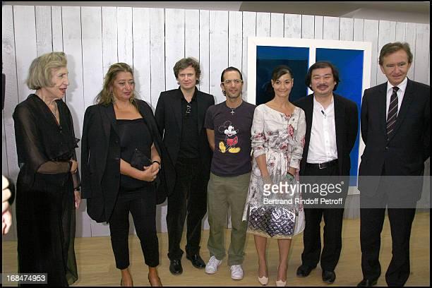 Andree Putman Zaha Hadid Tim White Sobieski Marc Jacobs Sylvie Fleury Shigeru Ban and Bernard Arnault exhibition launch 'Icones' at the Louis Vuitton...