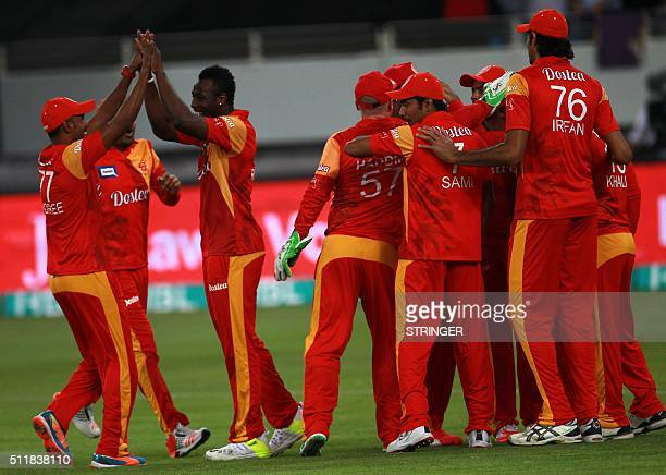 Andree Russel of Islamabad United celebrates the dismissal of Kevin Peterson of Quetta Gladiators during the final of Pakistan Super League at the...