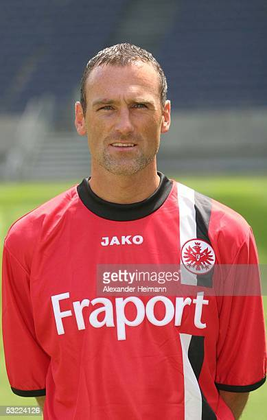 Andree Wiedener poses during the team presentation of Eintracht Frankfurt for the Bundesliga season 2005 2006 on July 11 2005 in Frankfurt Germany