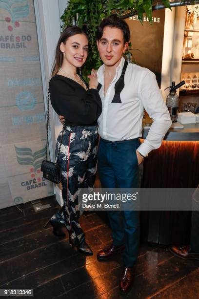 Andreea Cristea and Andrei Lucas attend the launch of Cafe Belvedere a dedicated Belvedere and coffee cocktail popup open from Thursday until Sunday...