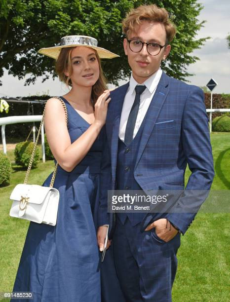 Andreea Cristea and Lucas Andrei attend Ladies Day of the 2017 Investec Derby Festival at The Jockey Club's Epsom Downs Racecourse at Epsom...