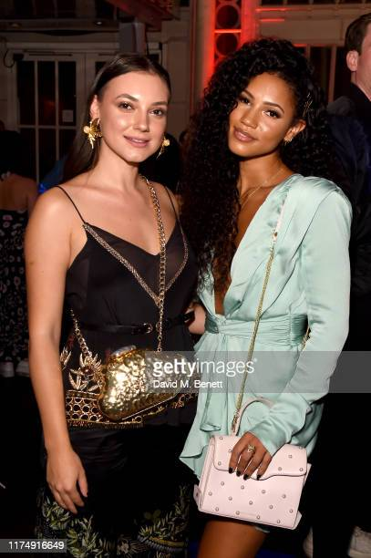Andreea Cristea and Vick Hope attend the Virgin Voyages and Gareth Pugh collaboration launch party at The Royal Opera House on September 15 2019 in...