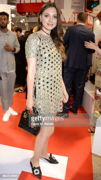 Andreea Cristea attends Hello Magazine's 30th anniversary party at Dover Street Market on May 9 2018 in London England