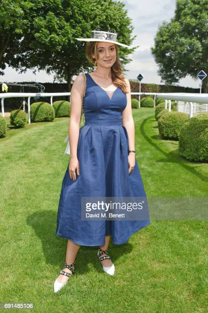 Andreea Cristea attends Ladies Day of the 2017 Investec Derby Festival at The Jockey Club's Epsom Downs Racecourse at Epsom Racecourse on June 2 2017...