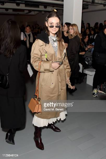 Andreea Cristea attends the Bora Aksu show during London Fashion Week February 2019 at BFC Show Space on February 15 2019 in London England