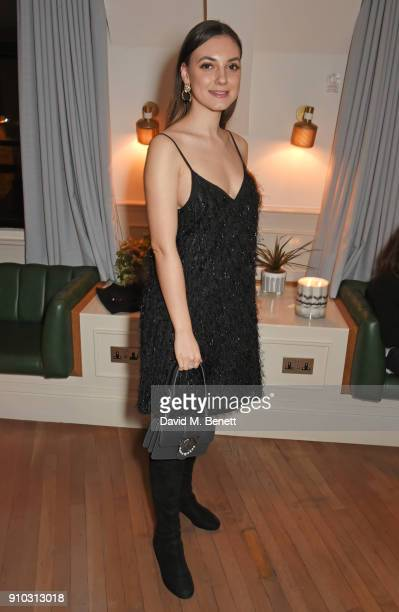 Andreea Cristea attends the launch of Teresa Tarmey's new 'at home facial system' at Mortimer House sponsored by CIROC on January 25 2018 in London...