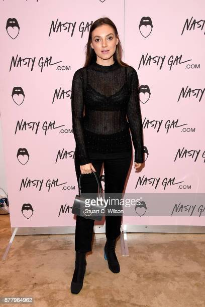 Andreea Cristea attends the Nasty Gal Pop Up Shop on Carnaby Street on November 23 2017 in London England
