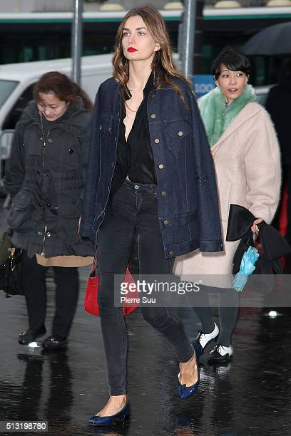 Andreea Diaconu arrives at the Anthony Vaccarello show as part of the Paris Fashion Week Womenswear Fall/Winter 2016/2017 on March 1 2016 in Paris...