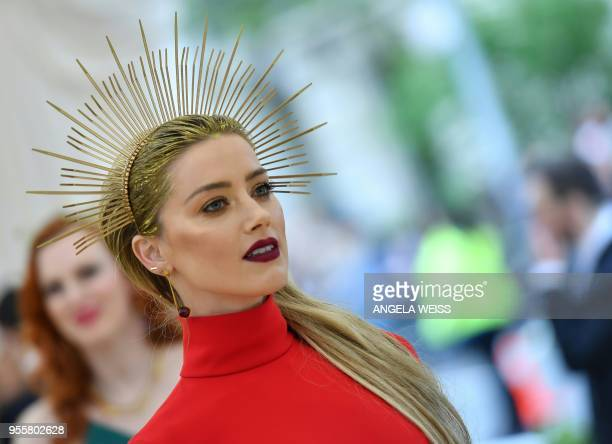 Andreea Diaconu arrives for the 2018 Met Gala on May 7 at the Metropolitan Museum of Art in New York The Gala raises money for the Metropolitan...