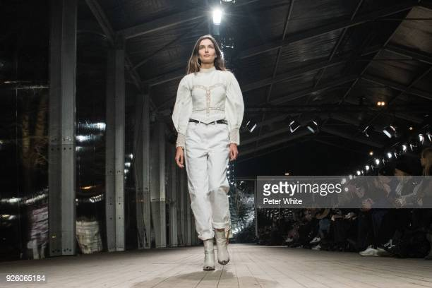 Andreea Diaconu walks the runway during the Isabel Marant show as part of the Paris Fashion Week Womenswear Fall/Winter 2018/2019 on March 1 2018 in...