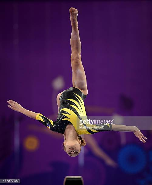 Andreea Iridon of Romania completes during the Women's Beam final on day eight of the Baku 2015 European Games at the National Gymnastics Arena on...