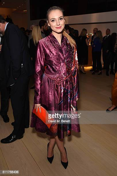 Andreea Paula Cristea attends as Audemars Piguet launch the Royal Oak Yellow Gold collection at Phillips Gallery on February 22 2016 in London England