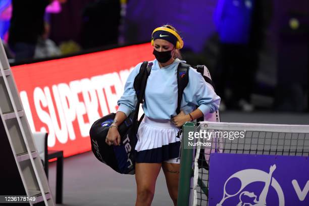Andreea Prisacariu entering the field before her match against Lesia Tsurenko on the third day of WTA 250 Transylvania Open Tour held in BT Arena,...