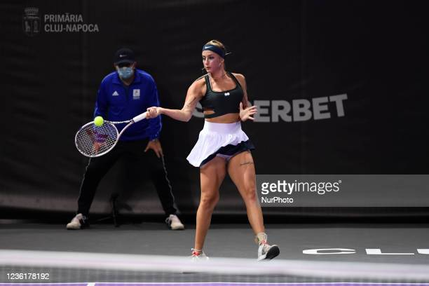 Andreea Prisacariu in action - receiving the ball during her match against Lesia Tsurenko on the third day of WTA 250 Transylvania Open Tour held in...