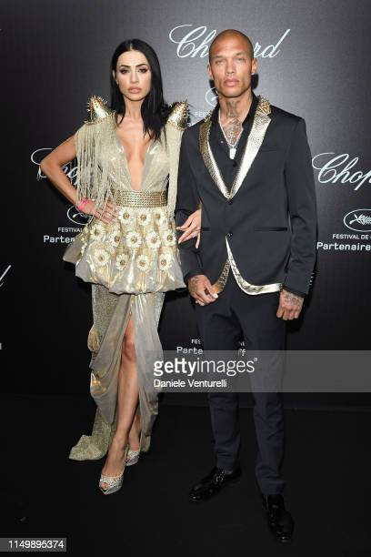 Andreea Sasu and Jeremy Meeks attend the Chopard Love Night photocall on May 17 2019 in Cannes France